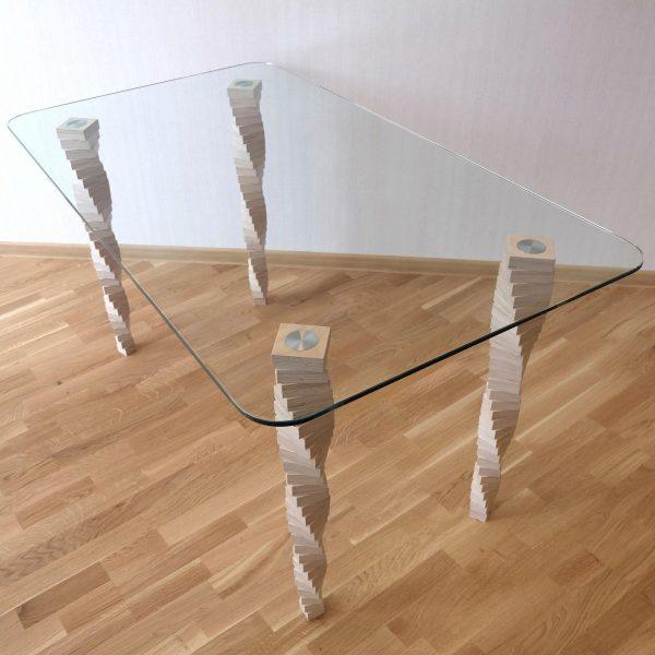 Стол №5, березовая фанера, закаленное стекло, наборные ножки, лак на водной основе, «Седов и Ко»