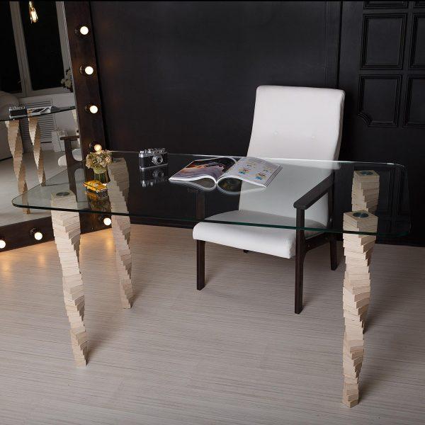 Стол Sedoviko TDS5, березовая фанера, закаленное стекло, наборные ножки, лак на водной основе